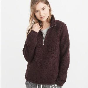 Abercrombie & Fitch Half Zip Sherpa Pullover Sz M